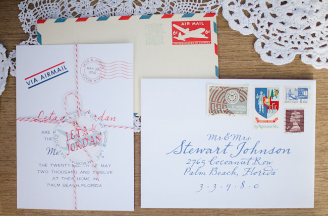 red white and blue wedding invitation