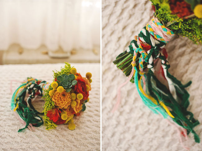 bright bouquet with yarn braid wrap