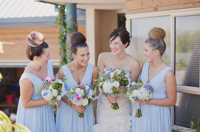 bridesmaids with high buns