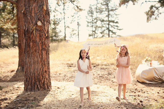 flower girls here comes the bride sign