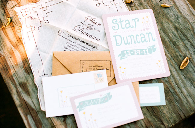 teal bunting wedding invitations