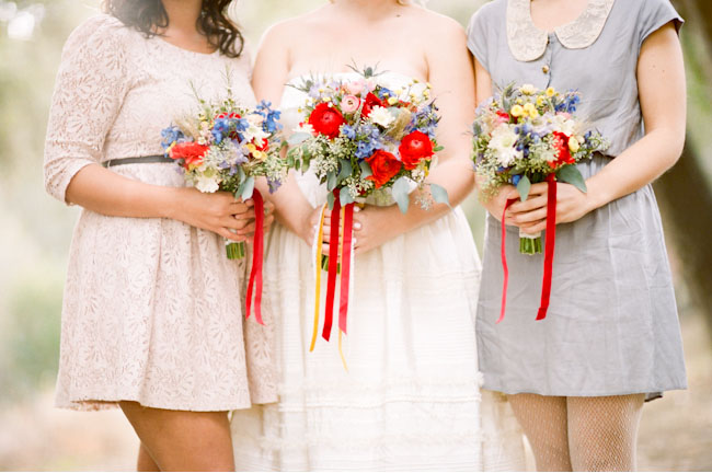 blue and red bouquets