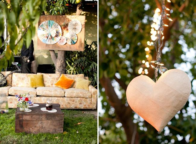 backyard reception, hanging heart
