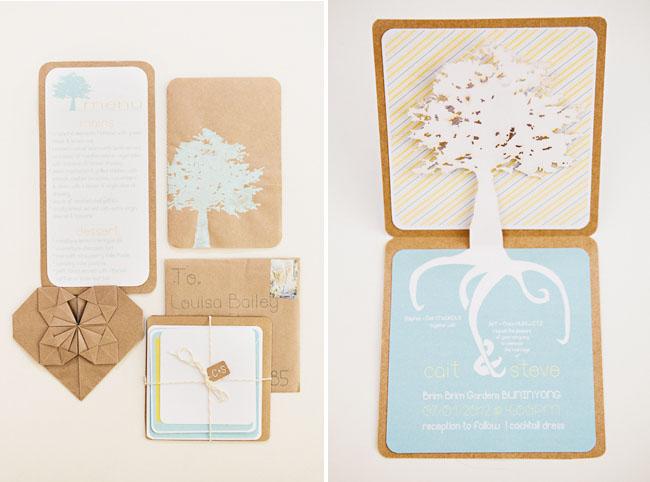 kraft paper and laser cut tree invitations
