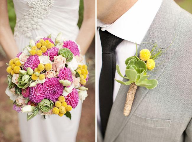 pink succulent bouquet