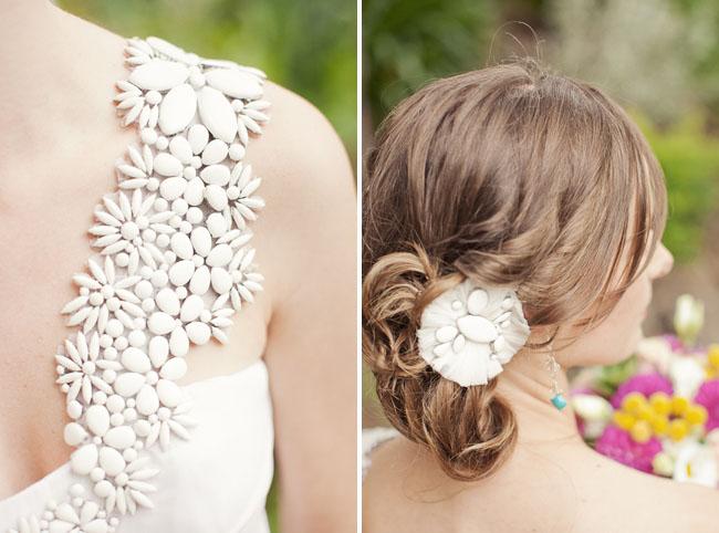 flower beaded shoulder wedding dress