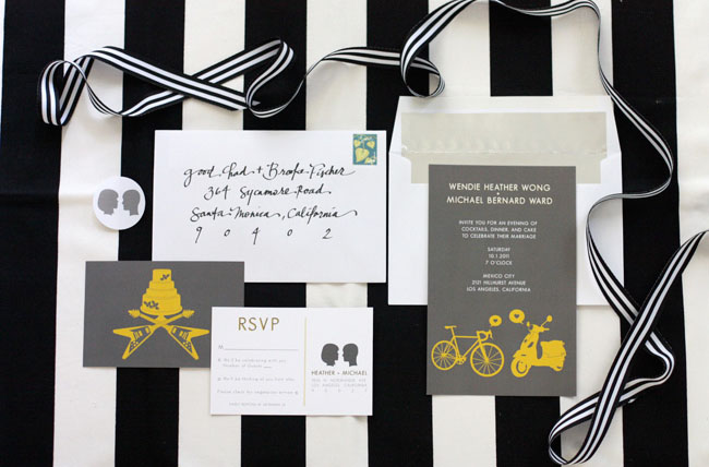 gray and yellow invitations