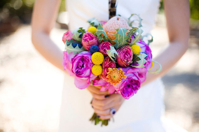 bright bouquet with feather