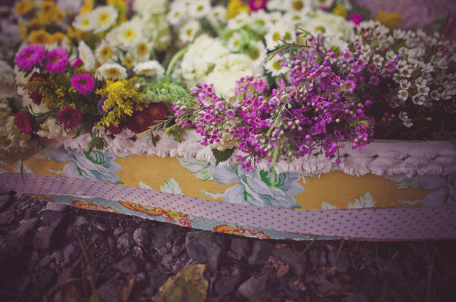 rowboat filled with flowers