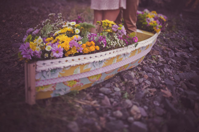 boat filled with flowers engagement