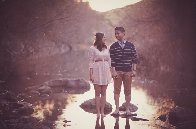 engagement by a river