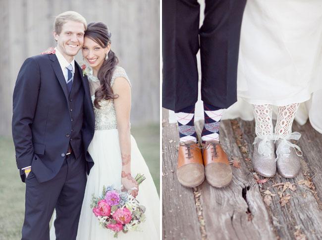 bride's glitter lace up shoes