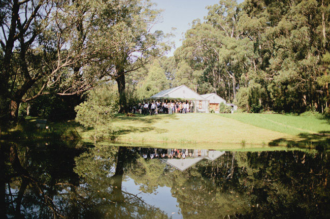 bcakyard reception with lake