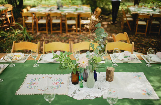 vintage tablescape, mixed bottle vases