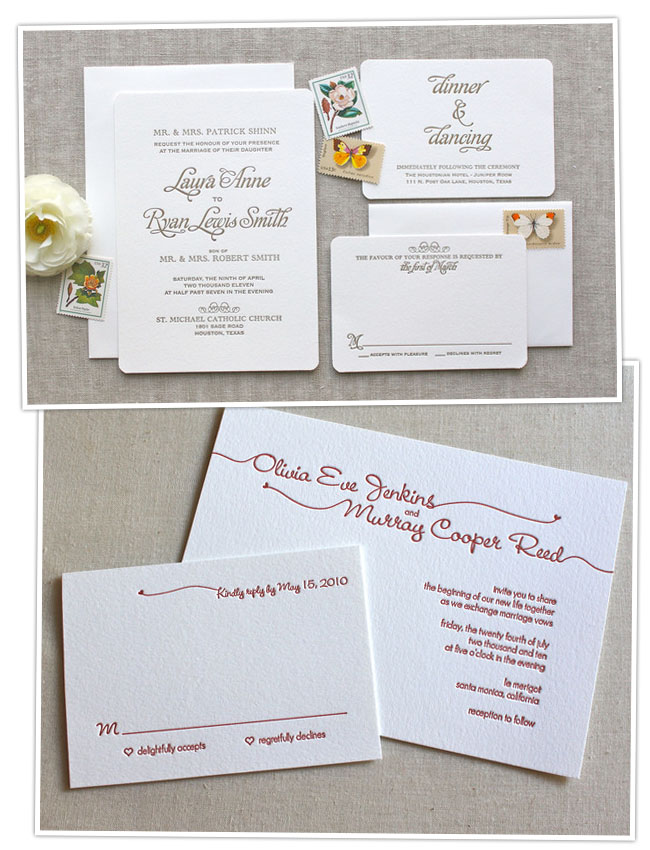 wedding invitations letterpress