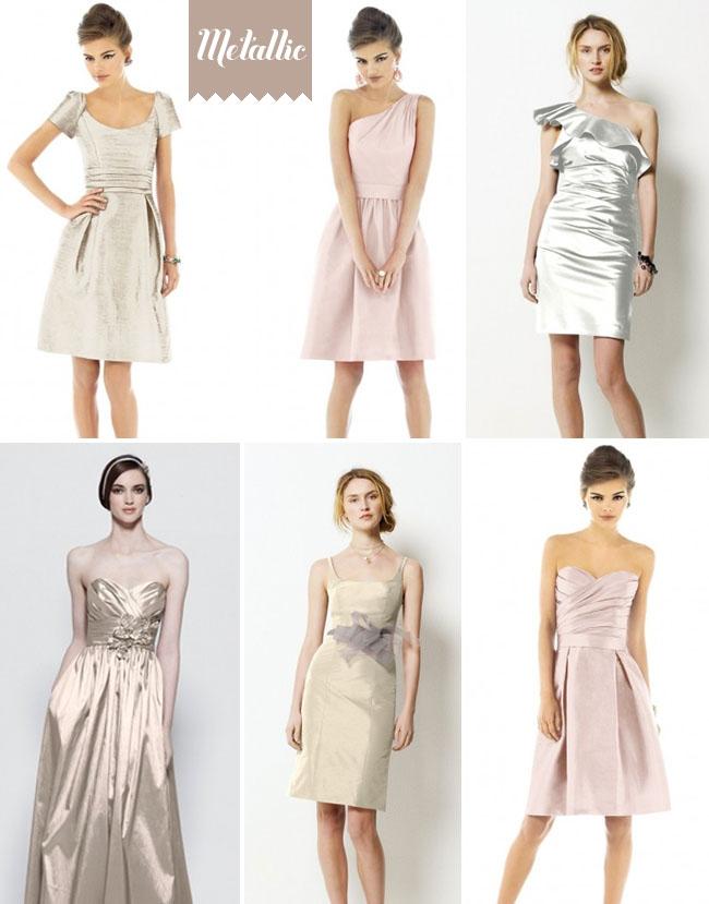 Metallic colored bridesmaid dresses