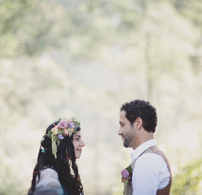 bride with floral wreath