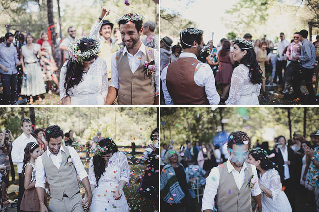 wedding exit with confetti