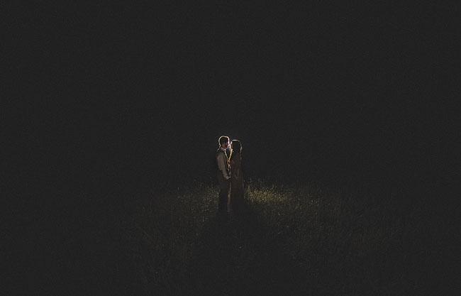 nighttime wedding portrait