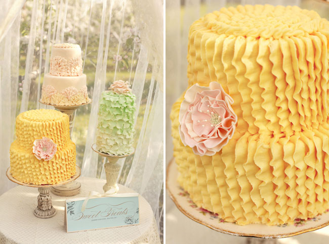 yellow ruffle wedding cake