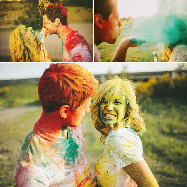 holi dust engagement