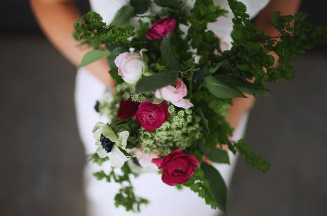 deep pink and green bouquet