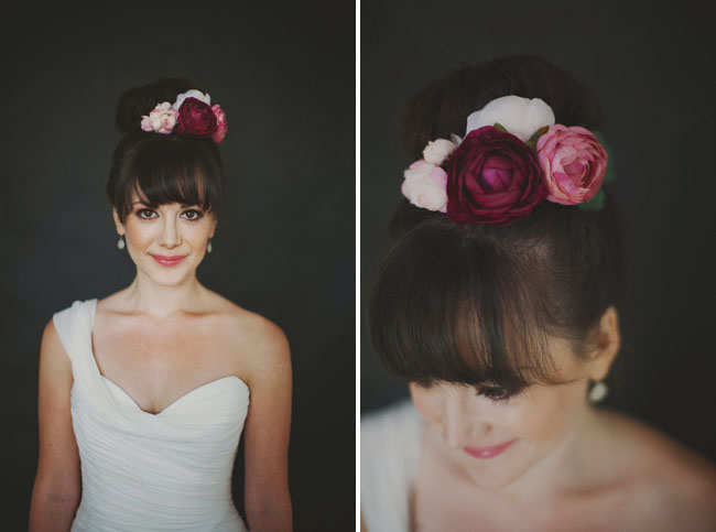 purple floral hair piece