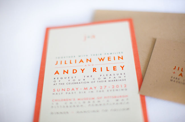 childrens museum wedding orange invite