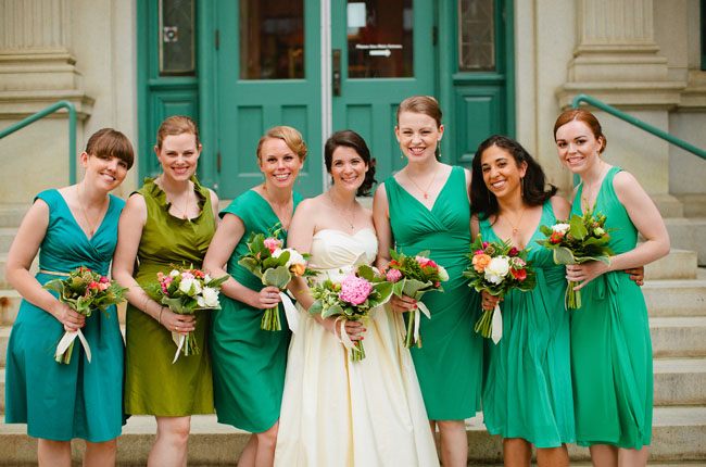 bridesmaids wearing green