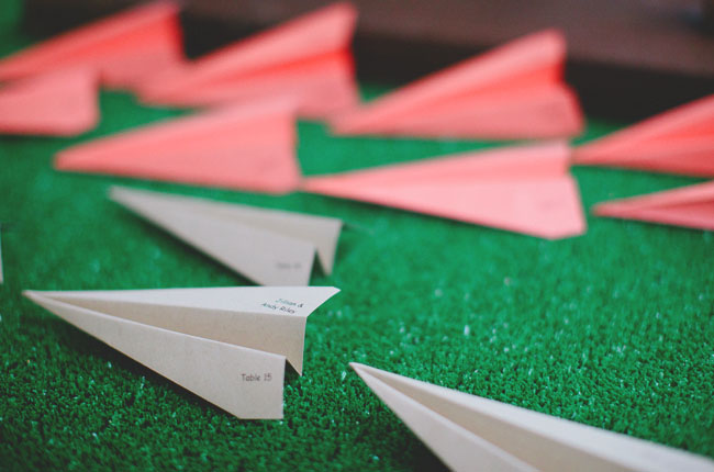 paper airplane escort cards