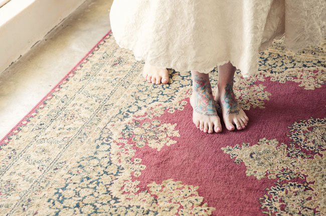 bride with feet tattoos