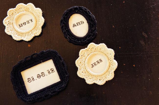 crochet wedding buttons