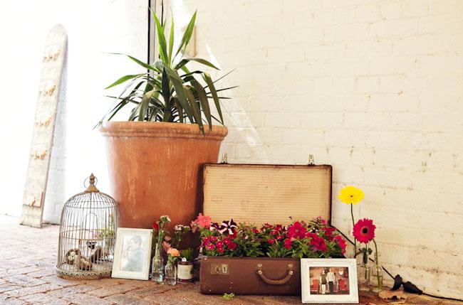 flowers in suitecase decor