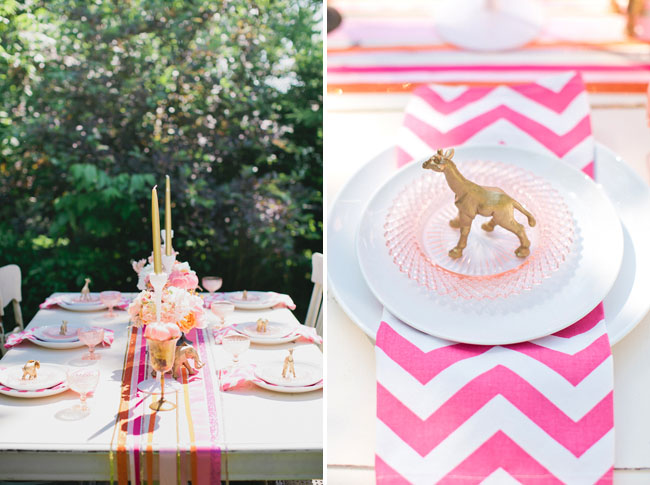 chevron napkin, gold animal