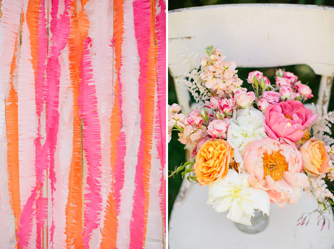 orange and pink fringe backdrop