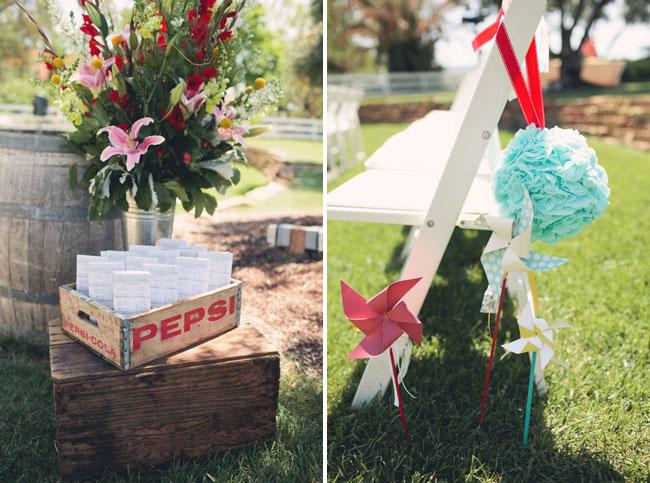 ranch wedding ceremony pinwheels
