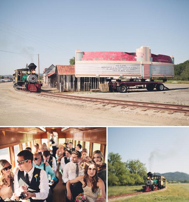 ranch wedding ceremony train ride