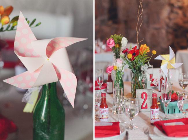 barn wedding pinwheels