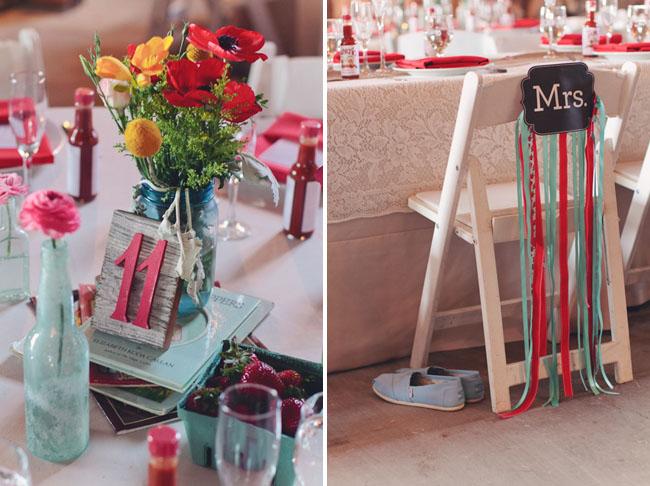 barn wedding ribbon chair