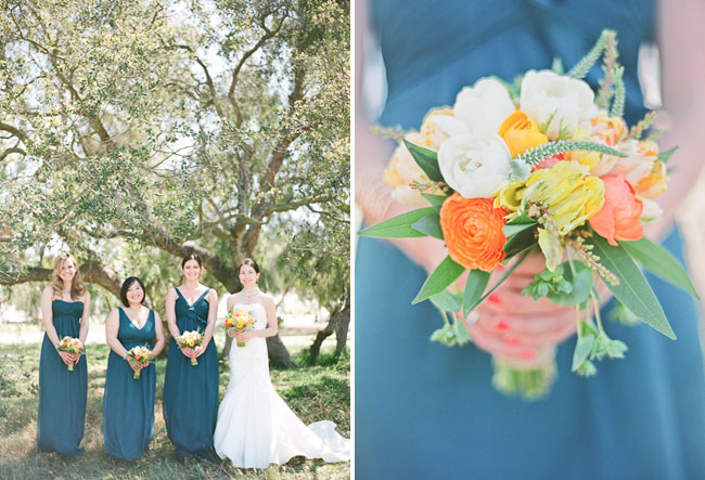 bridesmaids wearing teal