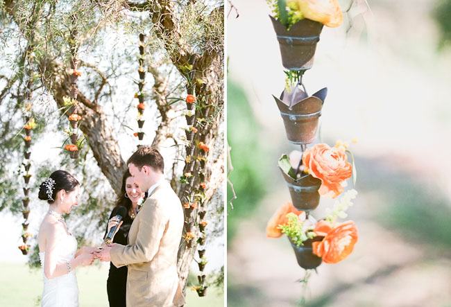 hanging potted flowers ceremony