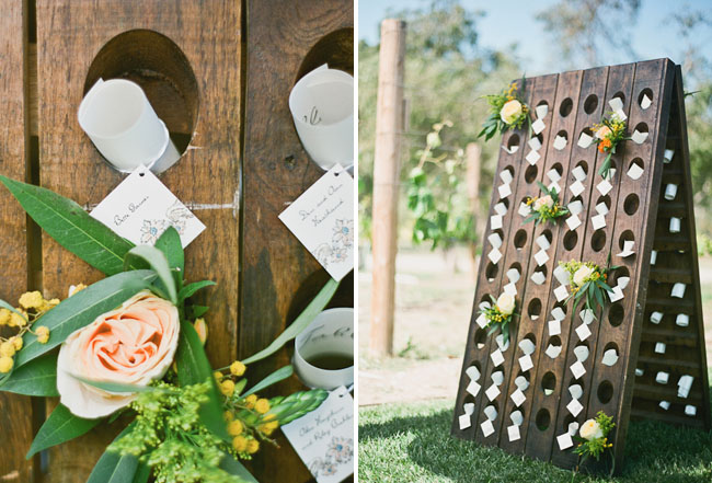 wooden place card holes holders