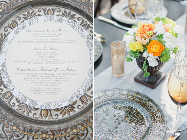 etched design wedding plates