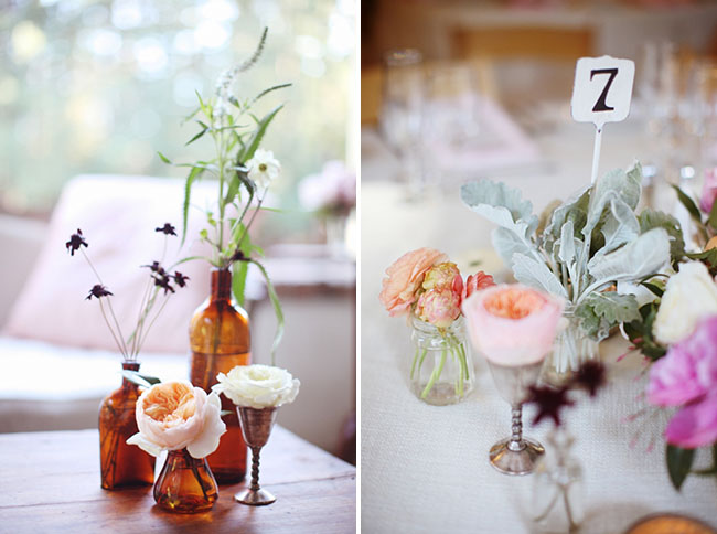flowers in small jars