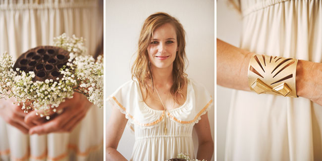 bridesmaids wearing vintage ruffle dresses