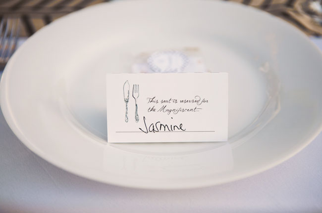 fork and knife place card