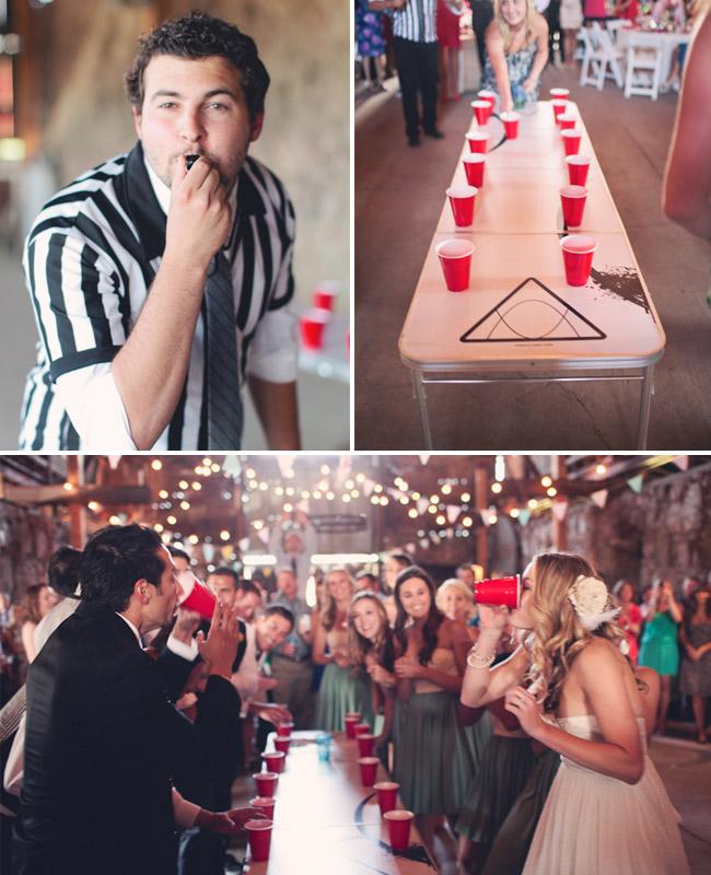 flip cup at wedding