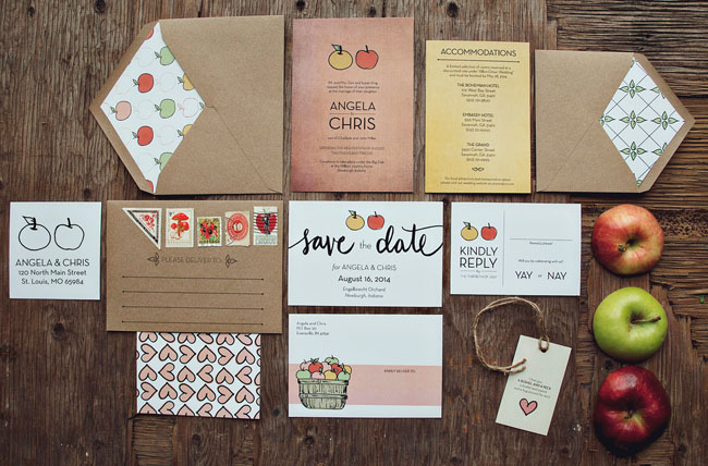 apple wedding invitations