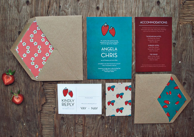 strawberry wedding invitations