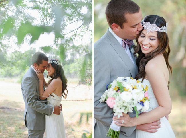 bride wearing crystal headpiece